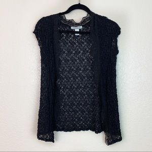 White House Black Market Black Lace Cardigan